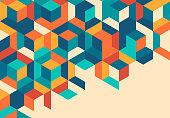 Retro cube pattern background design.