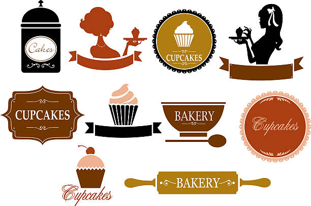 Retro Cupcake and Bakery Labels A selection of vintage style labels. Click below for more food images. cake silhouettes stock illustrations