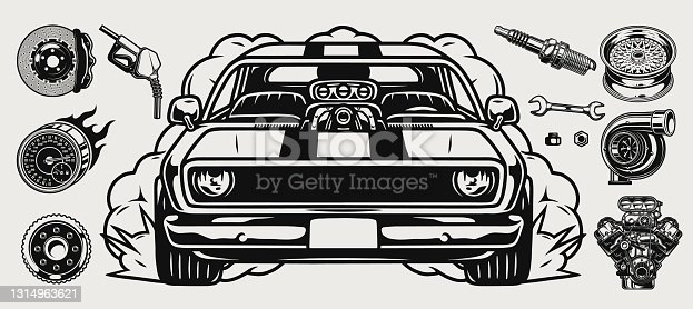 Retro custom car vintage concept with muscle automobile different auto parts and tools in monochrome style isolated vector illustration