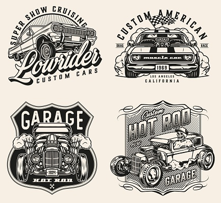 Retro custom cars vintage prints