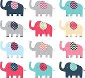 Retro Cute Elephant pattern