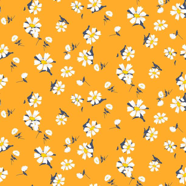 retro daisy simple yellow florals seamless vector pattern - нивяник stock illustrations