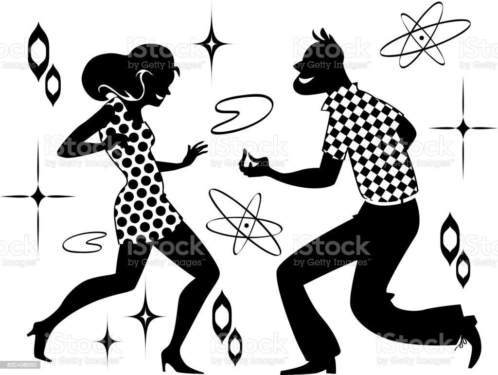 レトロなダンス クリップアート イラストレーションのベクターアート