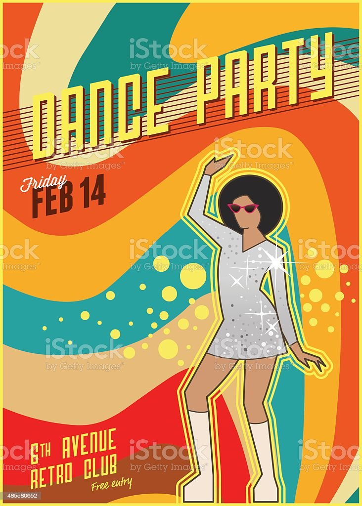 Retro dance party poster vector art illustration