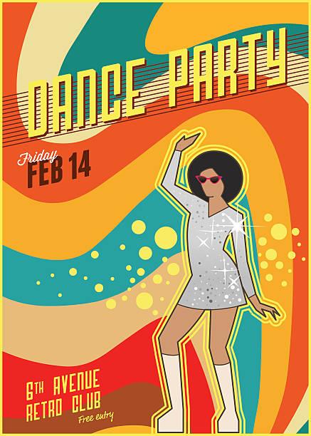 stockillustraties, clipart, cartoons en iconen met retro dance party poster - seventies