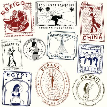 Retro Dance passport Stamps