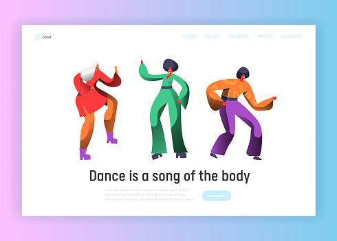 Retro Dancer Character Dance Landing Page. Man and Woman Dancing on Music Party, Nightlife Concept for Website Template. Flat Cartoon Vector Illustration