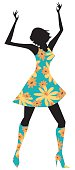 Flower Power! Stylized drawing of a retro dancing girl on a white background.