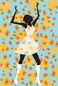 Flower Power! Stylized drawing of a retro dancing girl on a flowered background.