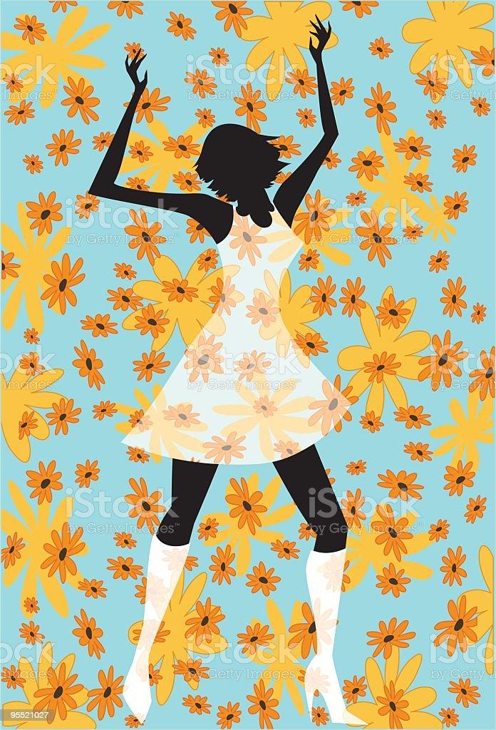 Retro Dancing Girl vector art illustration