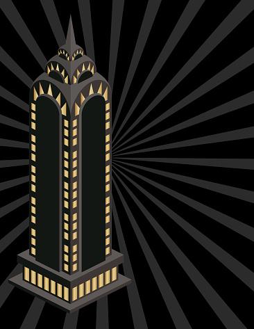 Retro Deco Buildings Invitation Template