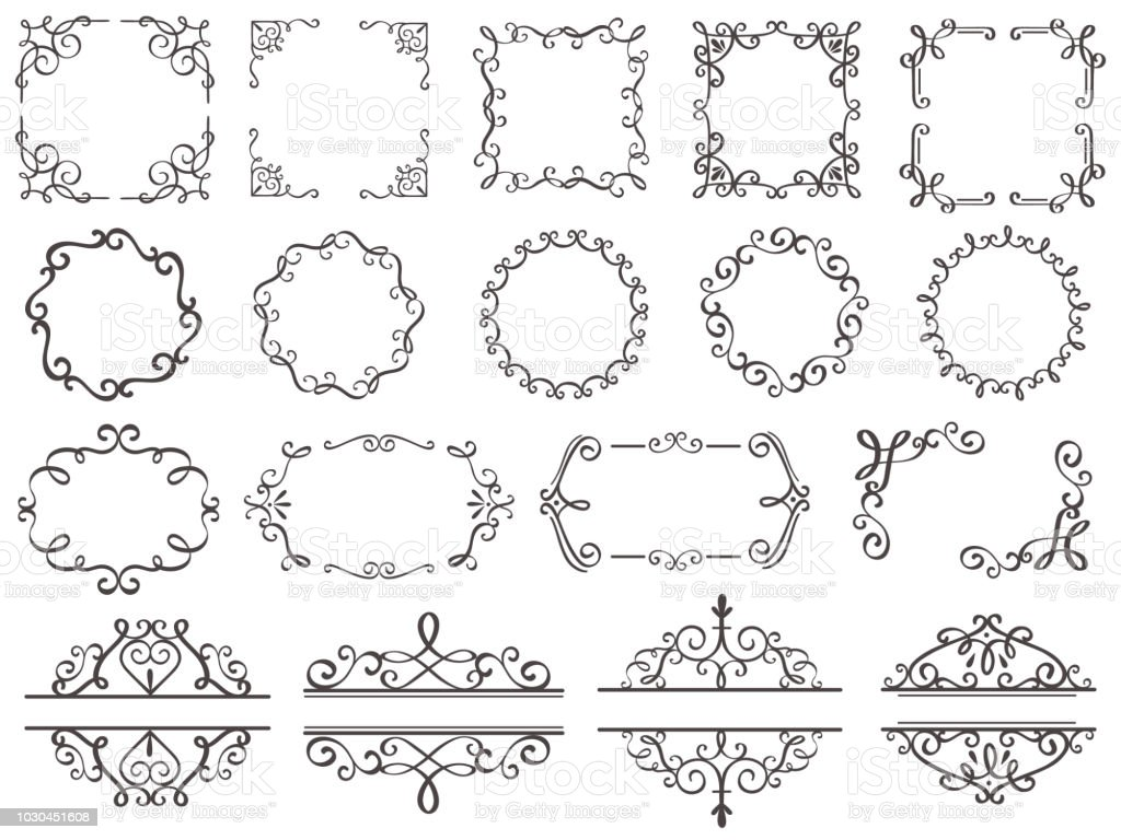 . Retro Decoration Frames Vintage Filigree Swirls Border Elegant