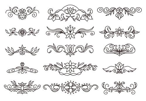 Retro Decorative Elements Scroll Dividers