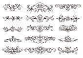 Vector retro decorative elements, scroll dividers. Hand drawing.