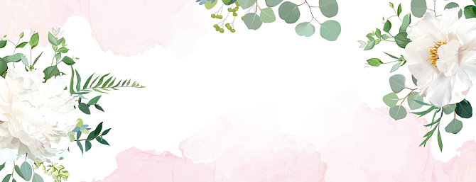 Retro delicate wedding banner with pink watercolor texture and flowers. White peony, eucalyptus, greenery. Floral vector design frame. Flat lay card, blog template. Elements are isolated and editable