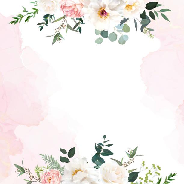 stockillustraties, clipart, cartoons en iconen met retro delicate trouwkaart met roze aquareltextuur en bloemen - bloemetjesbehang