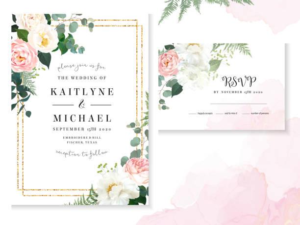 復古精緻的結婚卡與粉紅色的水彩紋理和鮮花 - 淺粉色 幅插畫檔、美工圖案、卡通及圖標