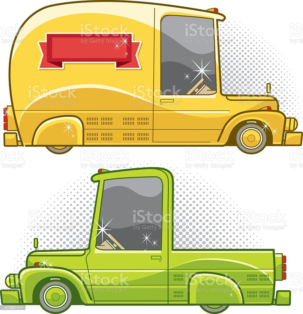 retro delivery van and truck royalty-free stock vector art