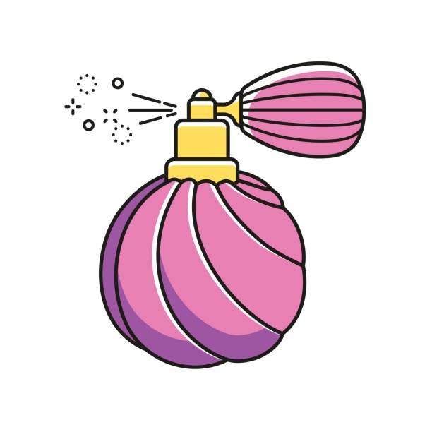 illustrazioni stock, clip art, cartoni animati e icone di tendenza di retro deodorant bottle with simple water spray mist. - spruzzo profumo