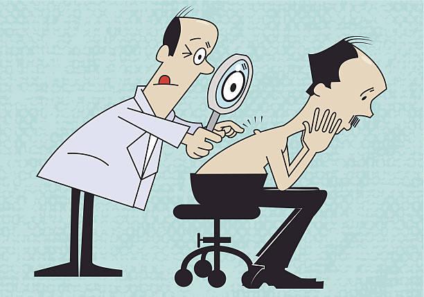 ilustraciones, imágenes clip art, dibujos animados e iconos de stock de retro dermatólogo - dermatología