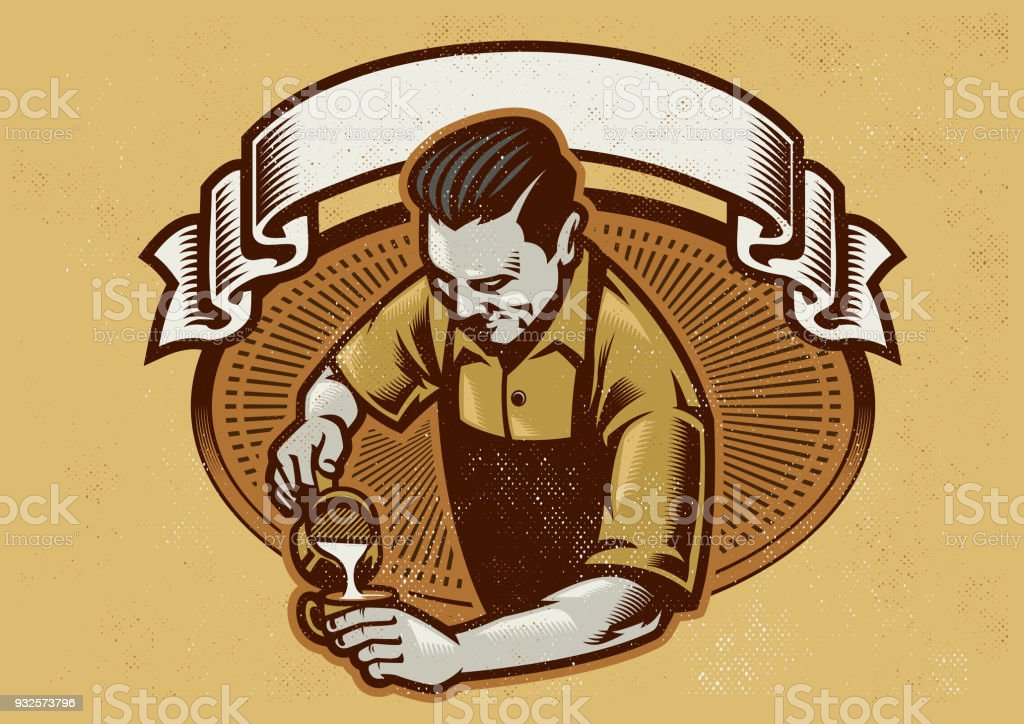 retro design barista making the coffee latte vector art illustration
