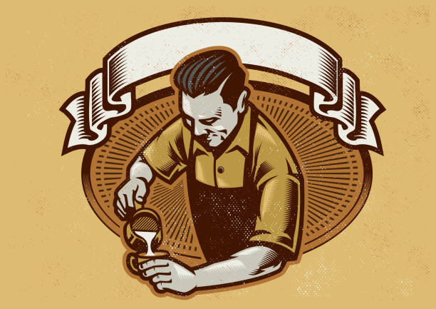 retro design barista making the coffee latte - barista stock illustrations, clip art, cartoons, & icons
