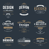 Retro Creative Vintage labels template set. Vector design elements business signs, branding, badges, objects, identity, labels.