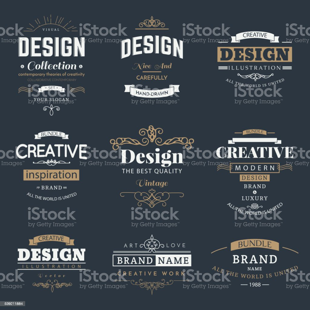 Retro Design Creative Vintage labels vector art illustration