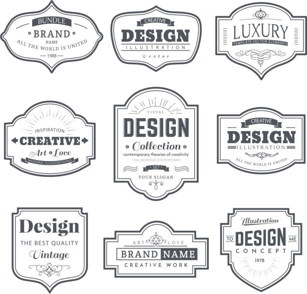 retro design creative vintage labels - architecture borders stock illustrations