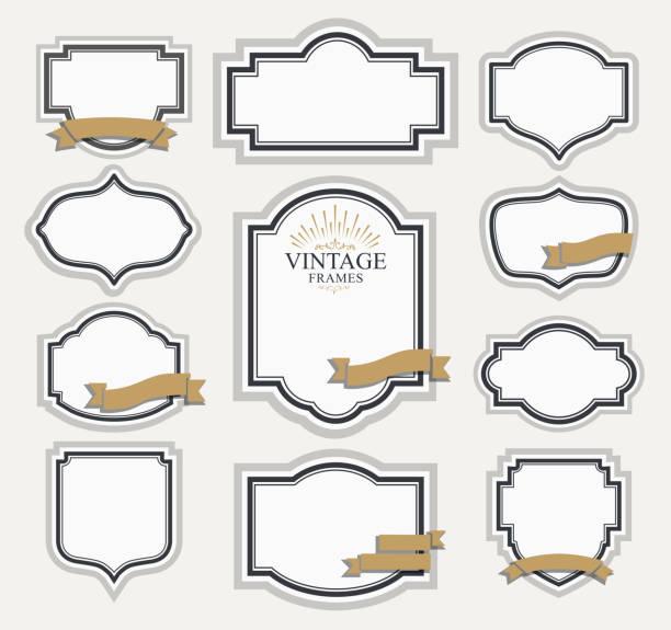 ilustraciones, imágenes clip art, dibujos animados e iconos de stock de creativo diseño retro vintage etiquetas - marcos de certificados y premios