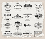 Retro Creative Vintage labels template set. Vector design elements business signs, branding, badges, objects, identity, labels.