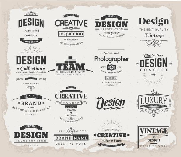 illustrations, cliparts, dessins animés et icônes de rétro étiquettes vintage conception créatif - infographie industrie manufacture production