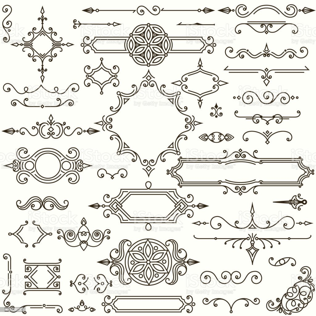 Retro design elements collection vector art illustration