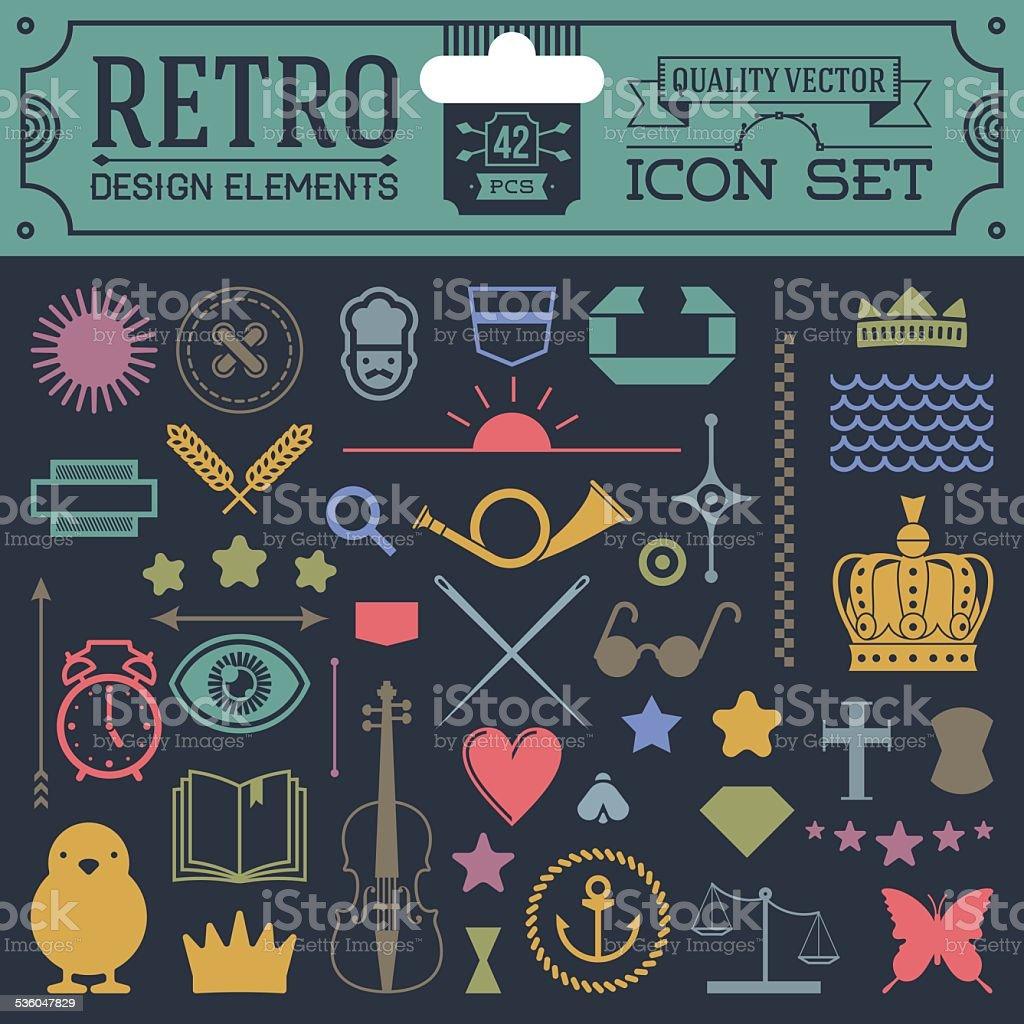 Retro design elements hipster style icon color set 2. vector art illustration