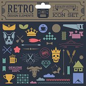 Retro design elements hipster style icon color set 3. High quality vector illustration.