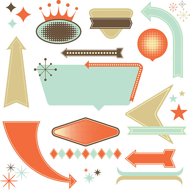 retro design elements - 1950s style stock illustrations, clip art, cartoons, & icons