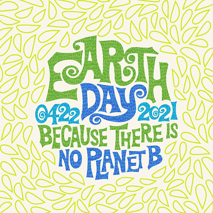 Retro design for Earth Day. Hand drawn lettering in 1960's poster style.