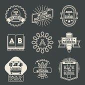 Retro design insignias back to school logotypes set.