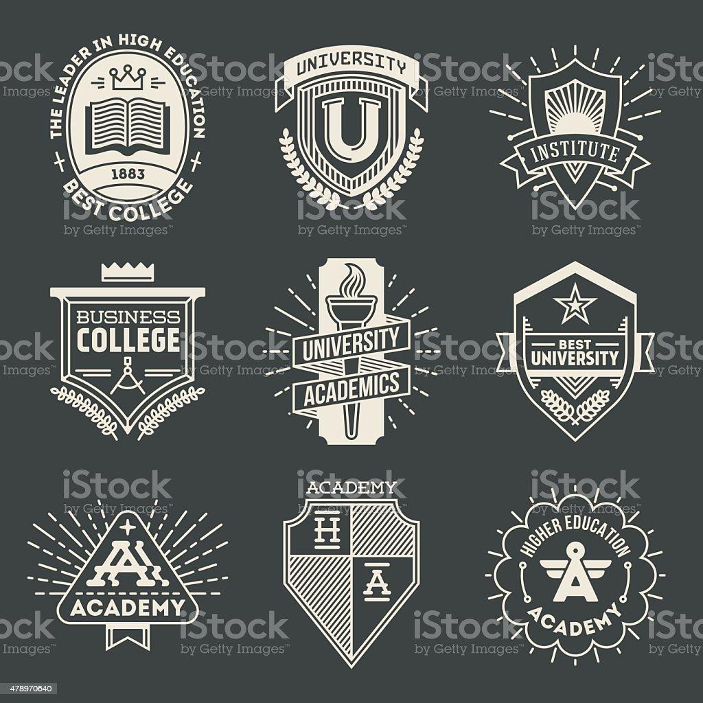 Retro design insignias high education logotypes set 1. vector art illustration