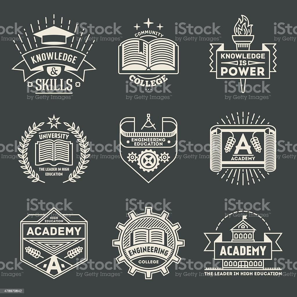 Retro-design insignias high Bildung logotypes set 2. – Vektorgrafik