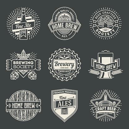 Retro design insignias logotypes home brewery set 2.