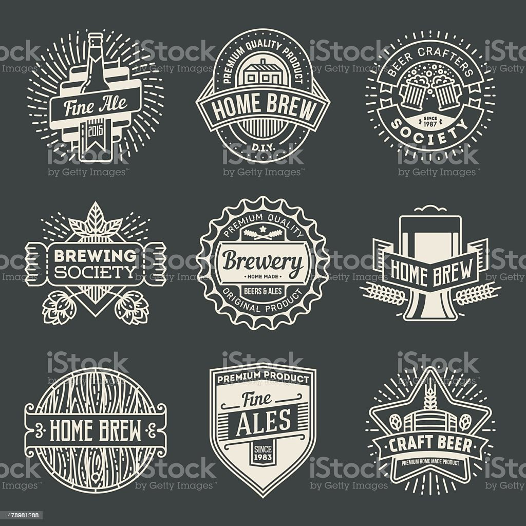 Retro design insignias logotypes home brewery set 2. vector art illustration