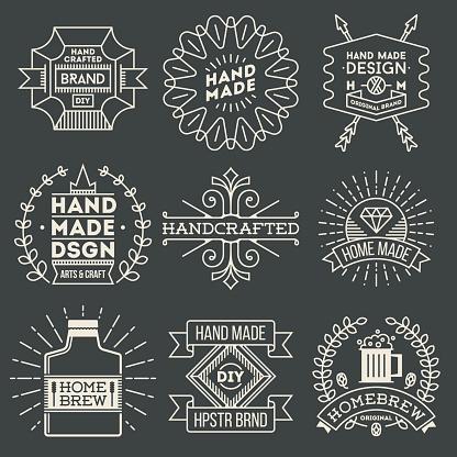 Retro design insignias logotypes set 11. Vector vintage elements.