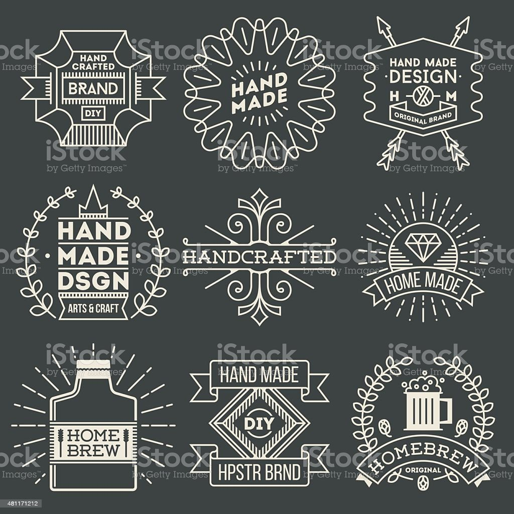 Retro design insignias logotypes set 11. Vector vintage elements. vector art illustration