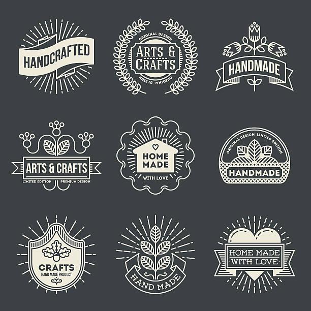 retro-design insignias logotypes set 12. vektor vintage-elementen. - hausgemacht stock-grafiken, -clipart, -cartoons und -symbole