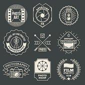 Retro design insignias photography logotypes set.