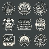 Retro design insignias transport logotypes set. Vector vintage elements.