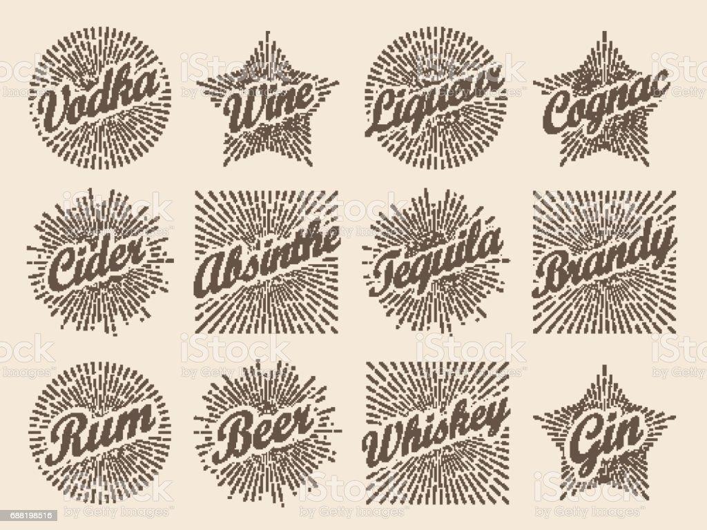 Retro-Design Sunburst Label, strahlender Stern für Wodka Wein Apfelwein und Alkohole. – Vektorgrafik