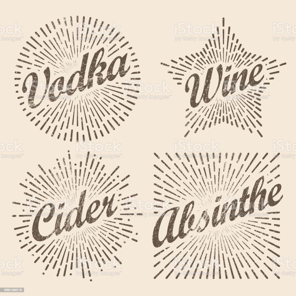 Retro-Design Sunburst, strahlender Stern für Wodka Wein Apfelwein und Alkohol. – Vektorgrafik