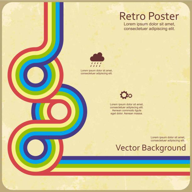 stockillustraties, clipart, cartoons en iconen met retro design template for vector background - seventies
